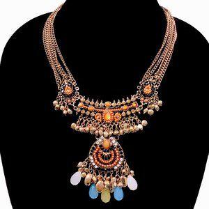 Boho Festival Style Bib Statement Necklace